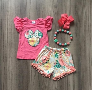 Minnie Pink Swirl Shorts Set