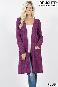 Brushed Long Sweater Plum