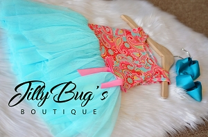 Aqua Tulle Paisley Dress