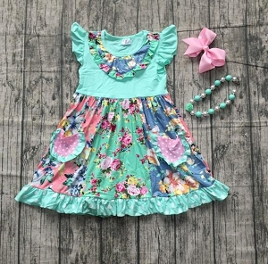 Aqua Floral Pocket Dress