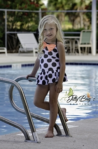 Polka Dot Swim Suit with Bow