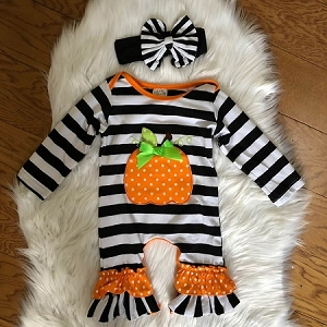 Pumpkin Romper in stripes