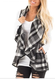 Mommy Black Plaid Vest