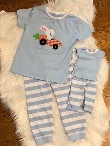 Blue Stripe Bunny and Doll outfit