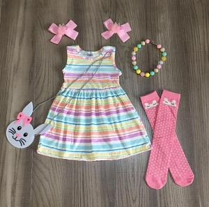 Stripe Dress and Bunny purse w/socks