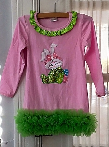 Pink/Green Sequin Bunny Dress