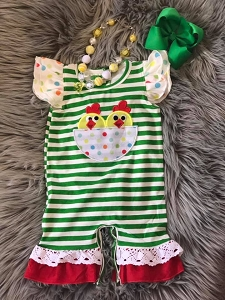 Green Stripe Chicken Romper