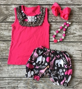 Pink Safari Shorts Set