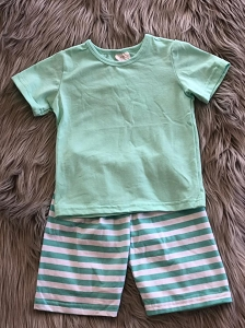 Green stripe boy set