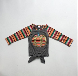 Grey Stripe Pumpkin Child Shirt