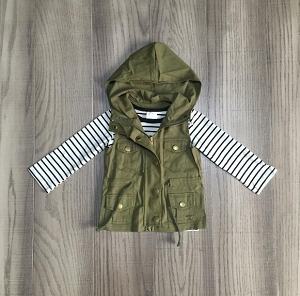 Olive Hoodie Vest and stripe shirt