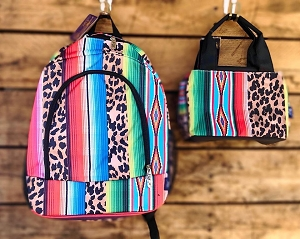 Leopard Serape Backpack and Lunch Set