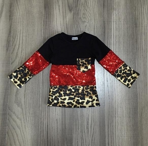 Leopard Sparkle Red Shirt