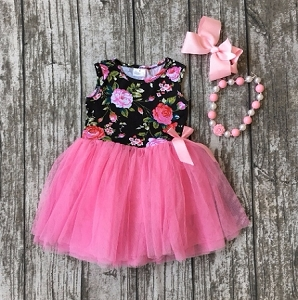 Pink/Black Flower Tulle Dress