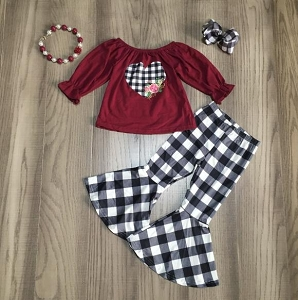 Flare Plaid Hearts Set
