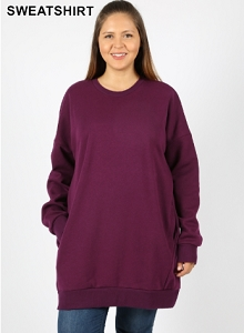 Plum Over Sized sweat shirt with pockets