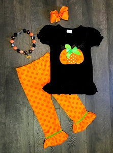 Pumpkin Black shirt Set