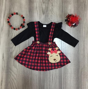 Plaid Reindeer Skirt SET