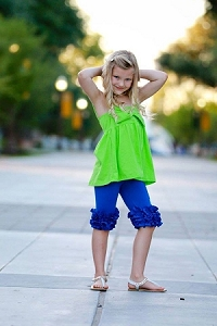 Triple Ruffle Bermuda Shorts Royal Blue