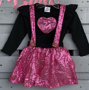Sparkle Heart suspender Skirt and top