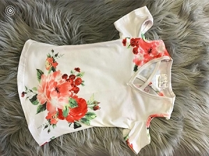 Flower cold Shoulder WHITE tunic