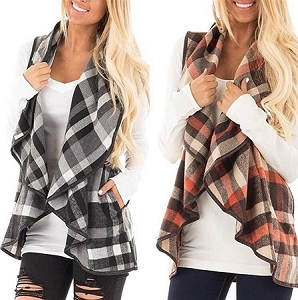 Mommy Brown Plaid Vest