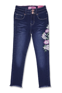 Fray Bottom Flower Skinny Jeans