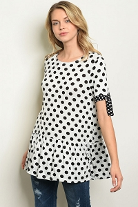 Polka Dot Ruffle bottom Shirt MOM's