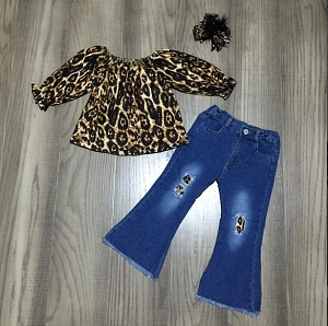 Bell Bottom Jean's with Leopard Peasant shirt