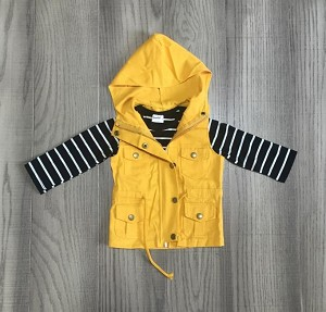 Yellow Hoodie Vest and stripe shirt