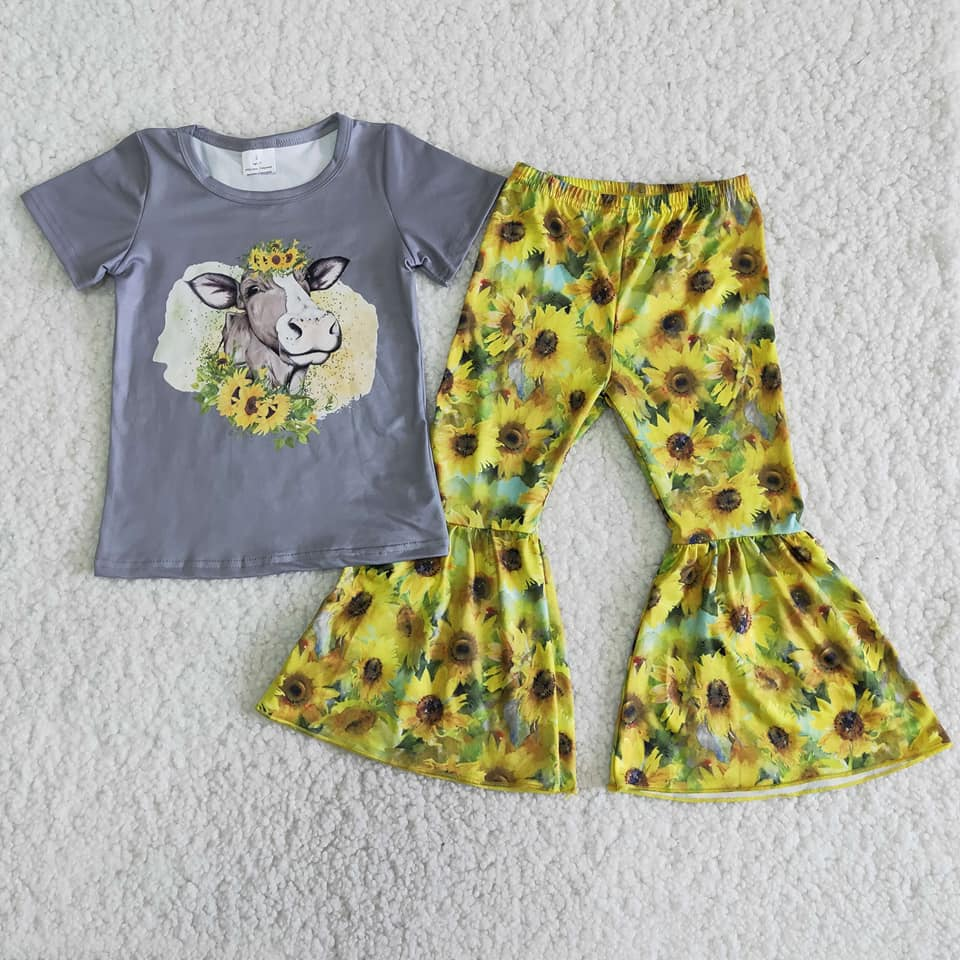 Cow Top and Belle Bottom Set