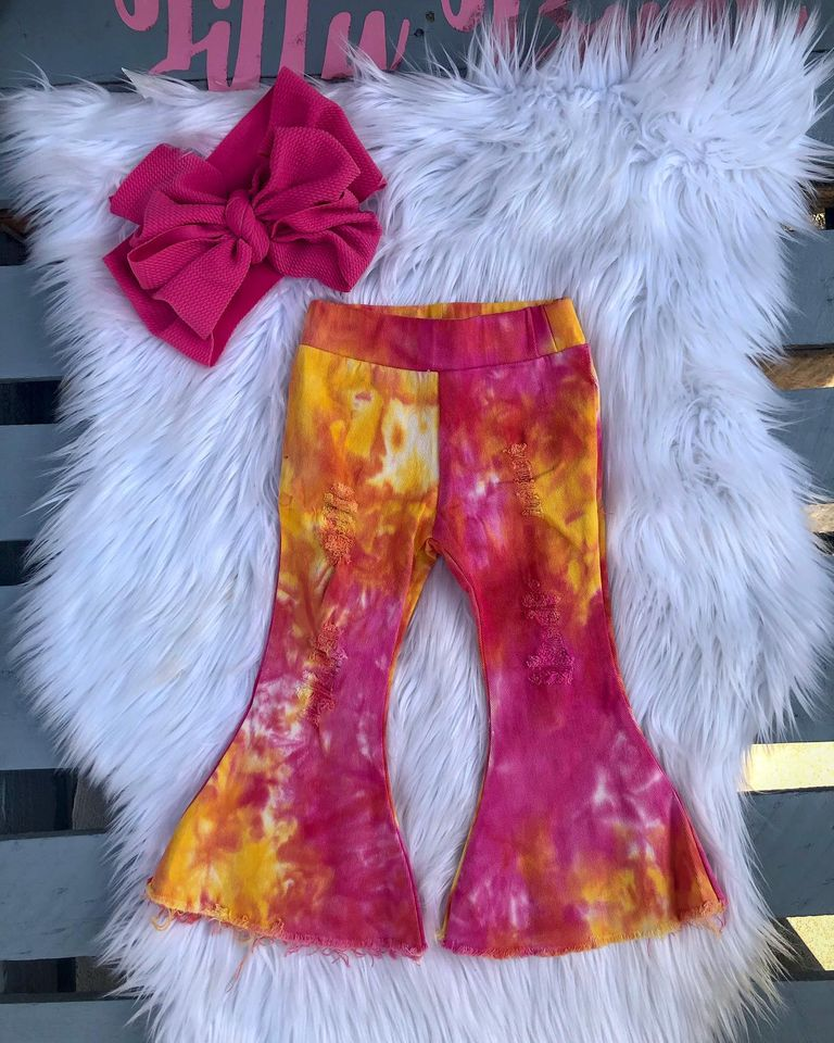 Flare Tie Dye #2 Peaches Distressed Jeans
