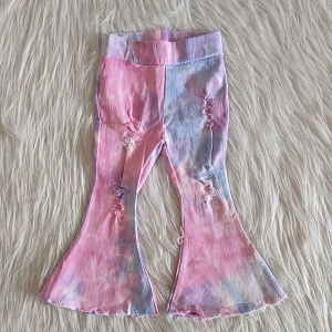 Flare Tie Dye #5 Blueberry Distressed Jeans