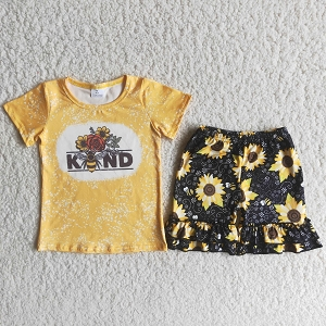 Bee Kind Shorts and Sunflowers Set