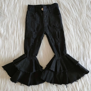 Black Double Ruffle Jeans