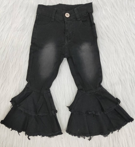 Black Bleached Double Ruffle Jeans