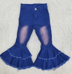 Blue Bleach Bells Double Ruffle Jeans