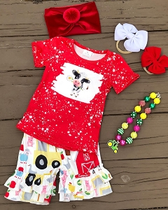 Daisy Cow Farm Days Shorts Set