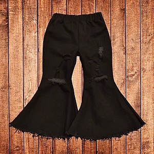 Black Flare Jeans Distressed