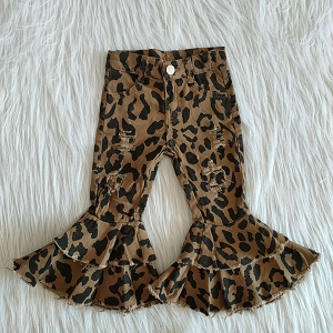 Leopard Double Ruffle DISTRESSED Jeans
