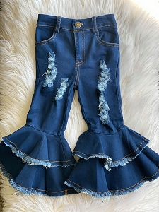 Tina Double Ruffle Distressed Jeans