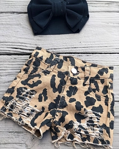 Leopard Distressed Jean Shorts