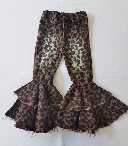 Leopard Double Ruffle BLEACHED Jeans