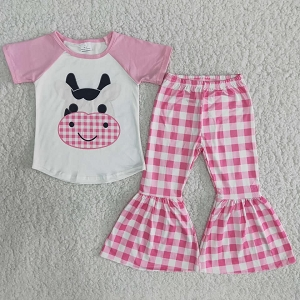 Pink Plaid Cows Outfit