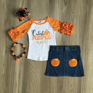 Cutest Pumpkin Jean Skirt Outfit