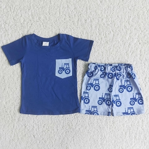 Boys Blue Tractor Set