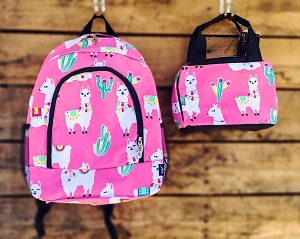 Llama Backpack and Lunch Box in Pink