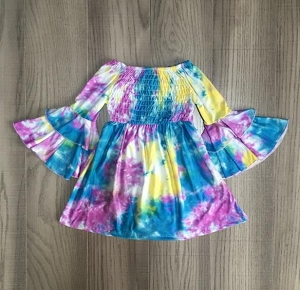 Tie Dye Susan Shirred Tunic Dress